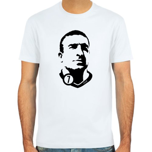 SpielRaum T-Shirt Eric Cantona ::: Farbauswahl: SkyBlue, Sand, Weiß oder Deepred ::: Größen: S-XXL ::: Fußball-Kult