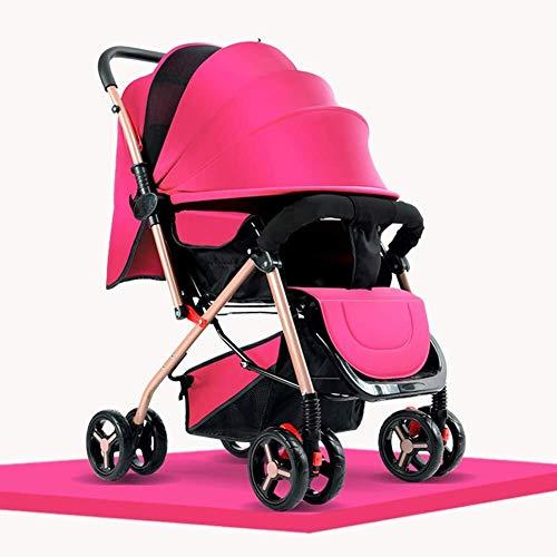 MAMINGBO Cochecito de bebé for recién nacidos y niños pequeños - Cochecito de cuna convertible Cochecito de bebé plegable con una sola mano Cochecito de niño pequeño Cochecito de lujo (Color : Pink)