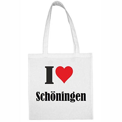 Tasche I Love Schöningen Größe 38x42 Farbe Weiss Druck Schwarz