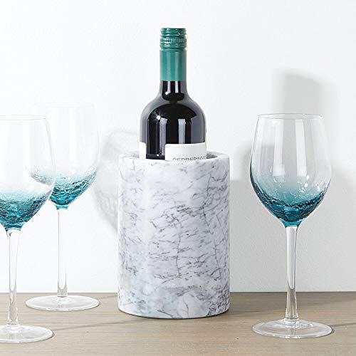 mDesign Natural Marble Stone Wine Bottle Cooler Chiller - Elegant Utensil Tool Holder Crock, Decorative Vase - White/Gray