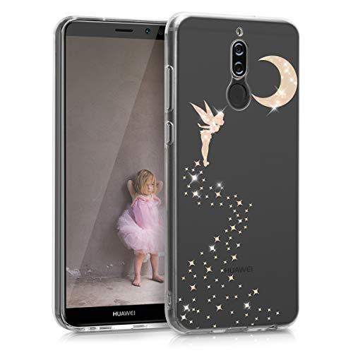 kwmobile Cover Compatibile con Huawei Mate 10 Lite - Back Case Custodia Posteriore in Silicone TPU Cover per Smartphone - Back Cover Fata alata Oro Rosa/Trasparente