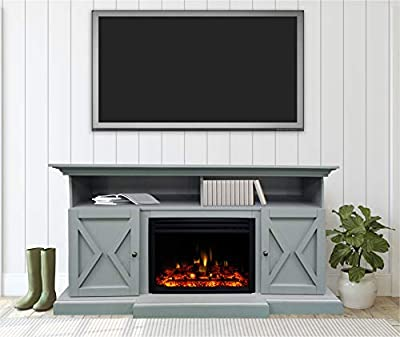 CAMBRIDGE 62-in. Summit Farmhouse Style Deep Log Insert,Slate Blue, CAM6215-1SBLLG3 Electric Fireplace Mantel