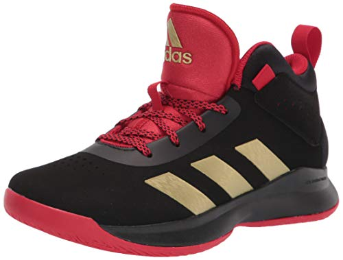adidas unisex child Cross Em Up 5 Wide Basketball Shoe, Black/Gold Metallic/Scarlet, 7 Wide Big Kid US