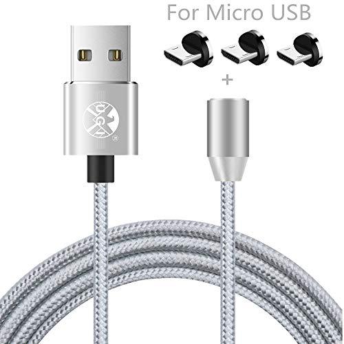 1m Cable Magnético Micro USB 3 en 1 Cable de Cargador trenzado...