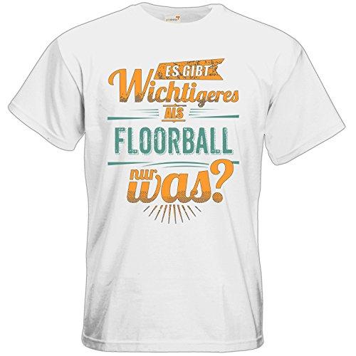 getshirts - Rahmenlos® Geschenke - T-Shirt - Sportart Floorball - es gibt wichtigeres als - Petrol - White M