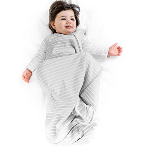 Baby Sleep Bag Sack, 4 Season Basic Merino Wool Baby Sleeping Bag Gown, 0-6 Months, Gray
