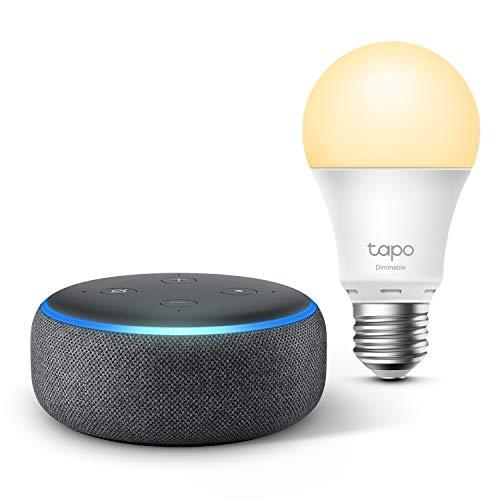 Echo Dot (3. Generation), Anthrazit Stoff + TP-Link Tapo smart Lampe (E27), Funktionert mit Alexa