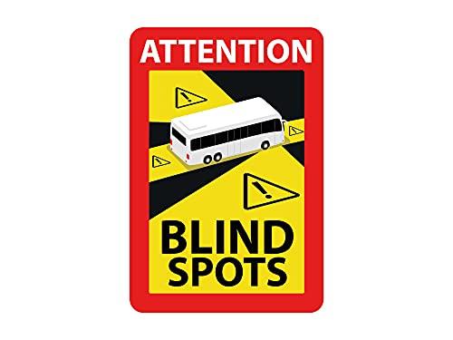 Oedim Pack 3 Señales Attention Blind Spots For Bus, Fabricado en Vinilo Adhesivo Laminado Brillo, para Exteriores e Interiores