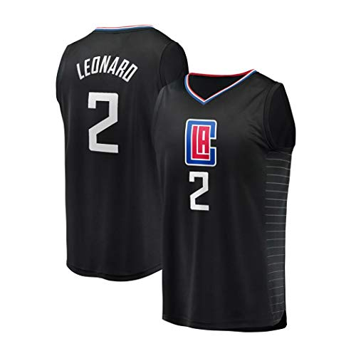 Kawhi Leonard 2# Basketball Jersey die Neue Jahreszeit Uniform, Los Angeles Clippers NBA Anzug, Ärmel Unisex, S -XXL (Color : Schwarz, Size : XS)