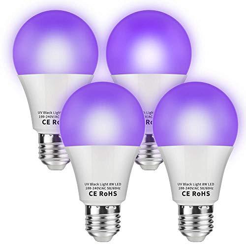 dystaval Lot de 4 Ampoule de Lumière Noire, E27 UV LED, Lamp