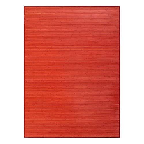 Lola Home Alfombra para salón de bambú (180 x 250 cm, Rojo)