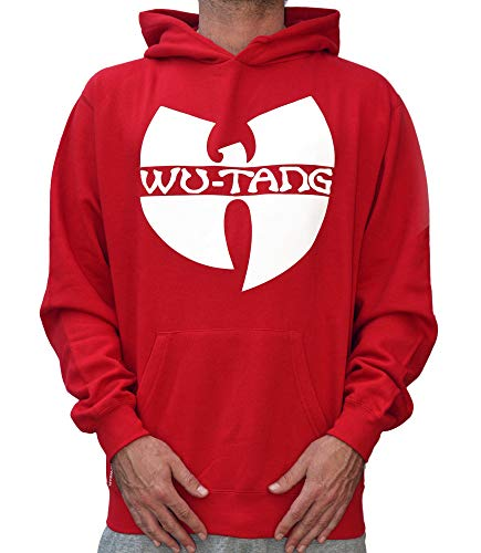 WU Wear Hoodie WU Tang Logo Hooded, WU Tang Clan Pull Mode Streetwear Urban, Hip Hop, pour Hommes, Rouge Taille 3XL, Couleur Red