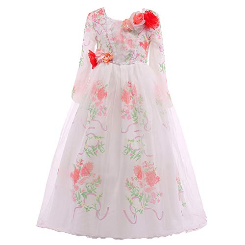 ELSA & ANNA® Mädchen Prinzessin Kleid Belle Kleid Verrücktes Kleid Partei Kostüm Outfit DE-BEL01 (3-4 Jahre, Weiß)