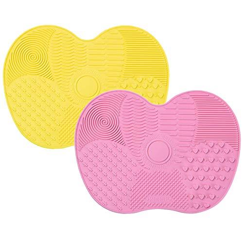 IWILCS Make Up Pinsel Silikon Reiniger Matte, 2 Stück Silikon Pinselreiniger, Reinigungsmatte Brush, Reinigung Werkzeug Mat Bürste Silikon, für Make-Up und Kosmetikpinsel