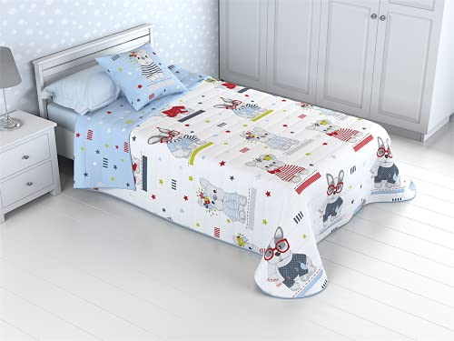 HM'S HOME'SECRET Colcha Bouti Infantil Reversible 100% con Funda de cojín y Tacto algodón Perritos (90 (180X270))