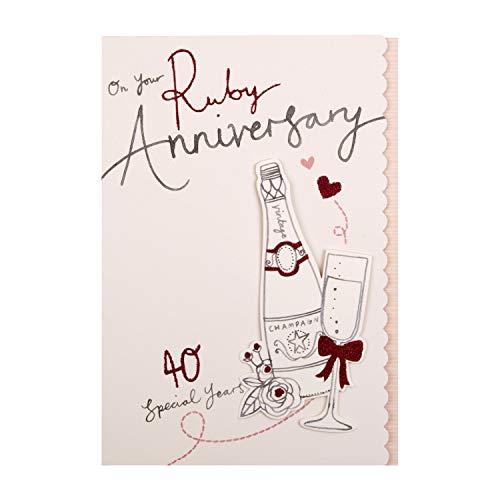 Hallmark - Tarjeta de felicitación de aniversario de boda con rubí (diseño 3D)