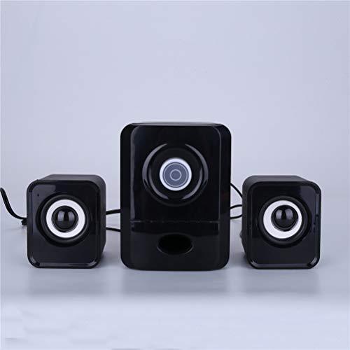 HDDFG Altavoces con Cable Computadora USB Reproductor De Música Dual Caja De Sonido Portátil con 3 Partes Equipo De Audio MP3 Radio Plástico (Color : Black)