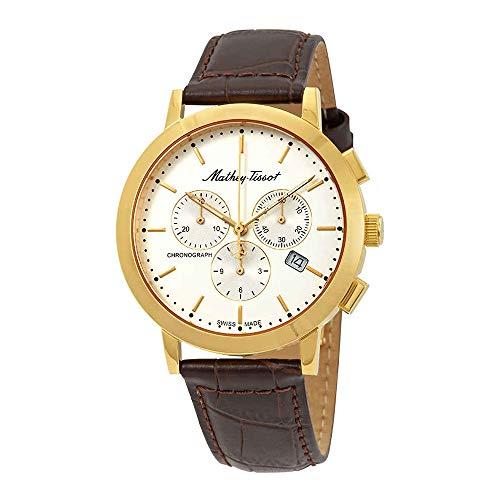 MATTHEY-TISSOT Reloj casual para hombre de acero inoxidable de cuarzo, correa de piel, marrón, 20 años (modelo: H9315CHPLI)
