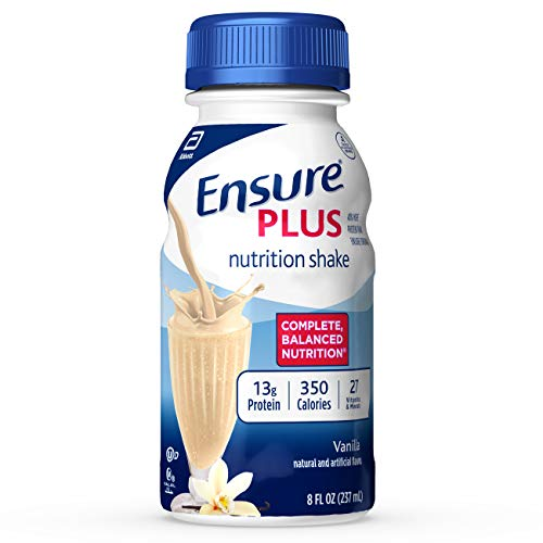 Ensure Plus Nutrition Shake With 16 Grams of High-Quality Protein, Meal Replacement Shakes, Vanilla, 8 fl oz, 16 Count