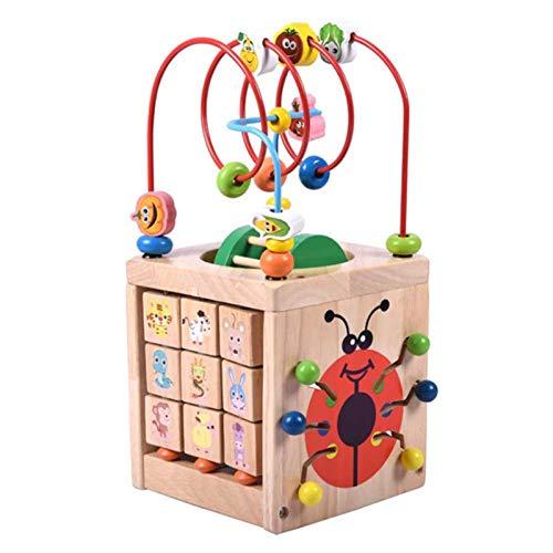 MMI-LX LYRONG 6 en 1 cuentas multifuncionales de madera 3D para niños juguetes de manualidades educativos bloques de construcción para niños