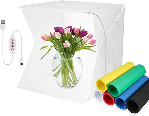 Meking Photo Box 16 x 16 inch Photo Studio Shooting Tent Top Hole Folding Table Photography Light Box Kit with 6 Color Background for Product Display Photography