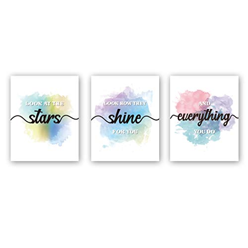 "HPNIUB Inspirational Quotes Art Prints, Set of 3 (8""X10""), Look at the Stars Motivational Saying Canvas Posters,Watercolor Splash&Splatter Painting for Couple Kids Bedroom Living Room Decor,No Frames"