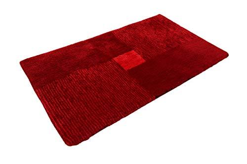 Homie Living Badteppich, Badematte, kuscheliger Flauschiger weicher Flor, rutschfest und waschbar, San Piero (70 x 120 cm, Rot)