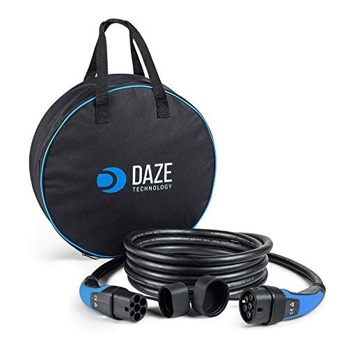 DazeTechnology Cable de carga para coche eléctrico con funda tipo 2 a tipo 2 5/8 metros 32 Amp hasta 7,4 kW / 22 kW (azul, hasta 22 kW, 32 Amp Trifásico 8 metros)