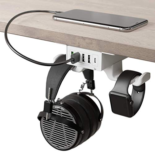 HumanCentric Headphone Stand with USB Charger (White) | Under Desk...