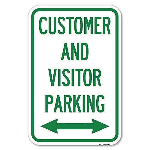 """Reserved Parking Sign Customer and Visitor Parking (Bidirectional Arrow) 