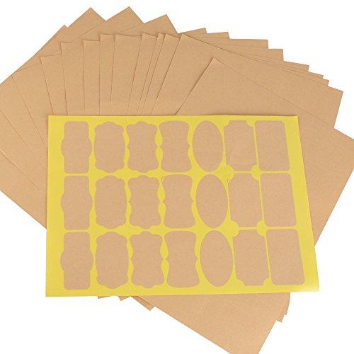 315pz 15 Fogli Adesivi Etichette di Carta Kraft Autoadesivi Stickers Lavagna per Bottiglie Regalo Busta Bomboniera Decorazione Scrapbooking (7 tipi di forme)