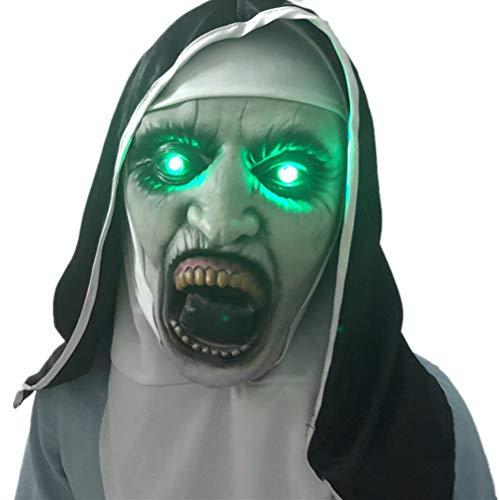 Tixiyu La monja aterradora máscara de Halloween fiesta de horror llevó la máscara iluminada, la máscara de disfraz de monja