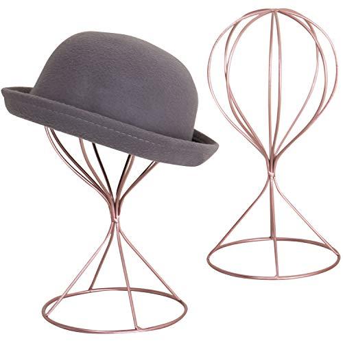 MyGift Set of 2 Modern Rose Gold-Tone Wire Design Metal Hat, Cap & Wig Rack Display Stands
