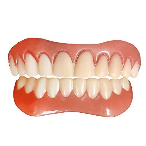 Zahnersatz Provisorischer Ober und Unterkiefer 2 Stück Quick Zähne Zahnprothese Instant Smile Veneers für Oberkiefer und unten, Reparieren Sie schnell Ihre Zahn und Lächeln