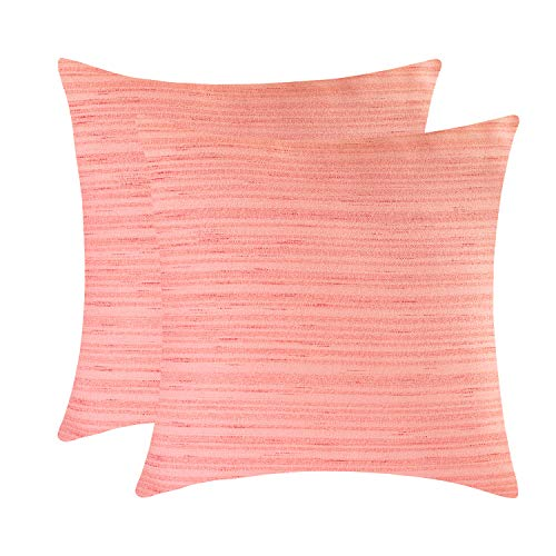 The White Petals Peach Blush Euro Throw Pillow Cover - (26x26 inch) | Decorative, Washable Cushion Covers for Couch, Sofa, Bedroom, Living Room - Pack of 2