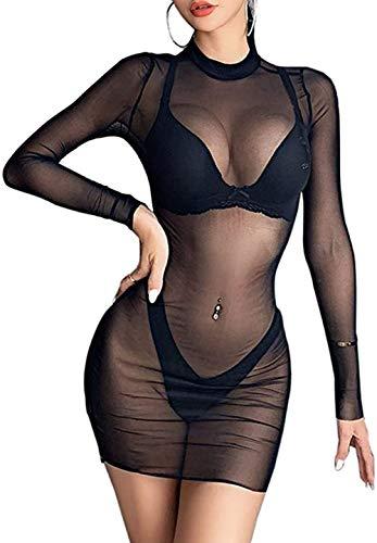 Carolilly Damen Mode Streetwear Transparent Kleid Party Clubwear Unterkleid Bikini Cover up (S, Schwarz(transparent))