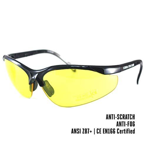 Cobra Taktische Airsoft Brille | Antibeschlag- und Kratzschutz Schießbrille | Schutzbrille | Arbeits- und Ballistikgläser mit schwarzem Rahmen, gelber Brille und verstellbaren Bügeln (Schwarz, gelb)