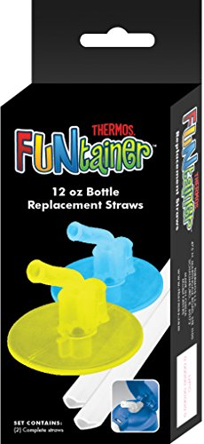 Thermos Replacement Straws for 12-Ounce Funtainer Bottle, Lime/Blue (F401RSLB6)