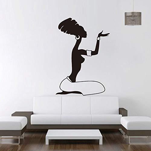 Mujeres africanas Etiqueta de la pared Calcomanía de vinilo Diseño de arte África Cultura dormitorio Decoración del hogar Sala de estar Cartel Salón de belleza Mural Papel pintado