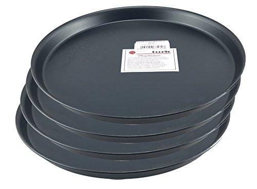 Pizzablech | / Pizzaform | Pizza-Backblech, rund, unbeschichtet, für Steinofen geeignet, hitzefest bis 400°, Gastronomie geeignet, aus Blaublech geschmiedet von Turk, 4er Set (Durchmesser: 32cm)