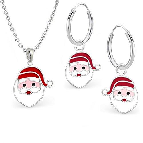 Nikolaus Set Anhänger Kette Ohrringe für Mädchen 925 Echt Silber Kinder Creolen mit Halskette Kinder Weihnachtsmann
