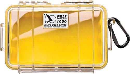 PELI 1050 petite valise de protection d'extérieur pour effets personnels, IP67 étanche à l'eau et à la poussière, capacité de 1L, fabriquée aux États-Unis, doublure transparente/jaune