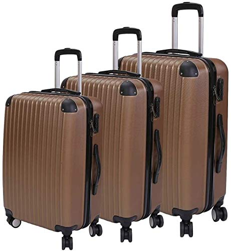 Bigbutterfly Cabin Suitcase Waterproof Carry On Hand Luggage ABS Hard Shell Lightweight Travel Cabin Luggage with 4 Universal Wheels, 3 Piece Set 20' 24' 28'