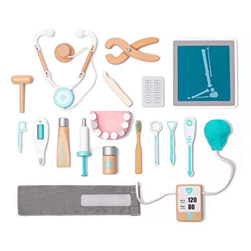 umu Holz Kinder Doktor Spielset für Kleinkinder, Täuschen Spielzeug 18 Stück Qualität Zahnarzt Toolbox Medical Kit für 3, 4 und 5 Jahre alt Mädchen und Jungen