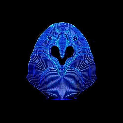 jiushixw 3D acryl nachtlampje met afstandsbediening van kleur veranderende tafellamp Chester Parrot nachtlicht schrijftafellamp Lampara Light Baby Sleep Light