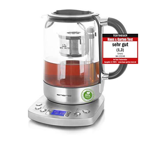 Emerio WK-122248, Glas Teekocher, Wasserkocher, TESTSIEGER mit Note 1.3, vollautomatisches Teesieb, Absenkautomatik…