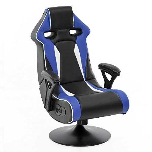 Wohnling® Soundchair in Blau-Weiß-Schwarz mit Bluetooth | Racing Musiksessel eingebaute Lautsprechern | Multimediasessel Gamer | 1.1 Soundsystem - Subwoofer | Music Sessel Rocker Chair