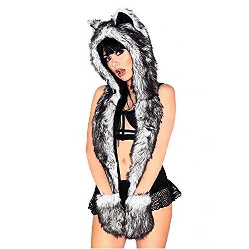 HAIYANSD Las Orejas del Lobo Sombreros de Invierno para Las Mujeres con los oídos Guantes Grils White Wolf Animado Faux Animal Campana Campanas Mitones Bufanda Espíritu Patas Orejas Calientes