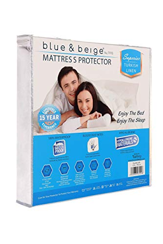 Blue & Beige by tfng Waterproof Mattress Protector (Double UK (135x190cm)) Deep, Fitted Sheet Style Cover | Soft, Breathable Sleep Comfort | Sweat, Liquid, Moisture, and Dust Mite Protection | White