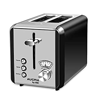 MIC Toaster 2 Slice Wide Slot with 6 Browning Settings Polished Stainless Steel Housing Toaster with 4 Functions Cancel/Bagel/Reheat/Defrost High-Lift, Black